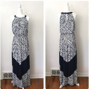 Vince Camuto Navy & White Chevron Maxi Dress Sz 10